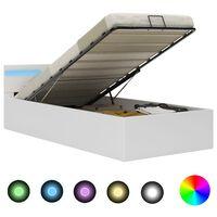 vidaXL Hydraulický posteľný rám+úložný priestor, LED, umelá koža 90x200 cm