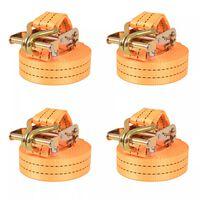 vidaXL Upínacie popruhy s račňou 4 ks, 1 tona, 6mx38mm, oranžové