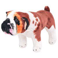 vidaXL Stojaca plyšová hračka bulldog bielo-hnedý XXL
