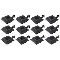 vidaXL Vonkajšie solárne svietidlá 12 ks čierne 12 cm LED štvorcové