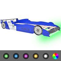 vidaXL Detská posteľ s LED, pretekárske auto, 90x200 cm, modrá