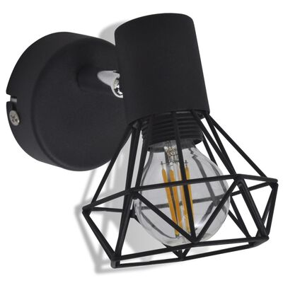 2 čierne svietidlá - LED žiarovky, drôtené tienidlo, industriálny štýl