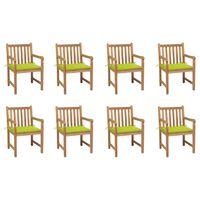 vidaXL Záhradné stoličky 8 ks s jasnozelenými podložkami tíkový masív