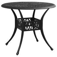 vidaXL Záhradný stôl čierny 90x90x74 cm liaty hliník