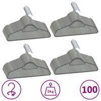 vidaXL 100-dielna sada vešiakov na oblečenie protišmyková sivá zamatová