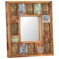 vidaXL Zrkadlo s obložením s Budhom 50x50 cm masívne recyklované drevo