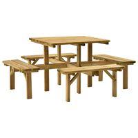 vidaXL 4-stranný piknikový stôl 172x172x73 cm impregnovaná borovica