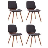 vidaXL Jedálenské stoličky 4 ks sivé látkové