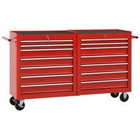 vidaXL Dielenský vozík so 14 zásuvkami červený oceľový