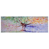 vidaXL Sada nástenných obrazov na plátne Dažďový strom rôznofarebná 120x40 cm