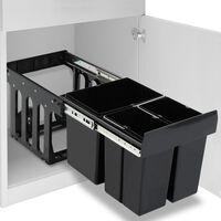 vidaXL Vysúvací smetný kôš do kuchynskej skrinky pomalé sklápanie 48 l