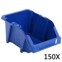 vidaXL Stohovateľné úložné boxy 150 ks, 125x195x90 mm, modré