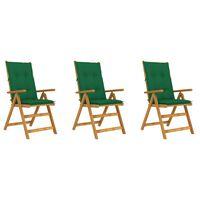 vidaXL Skladacie záhradné stoličky s podložkami 3 ks akáciový masív