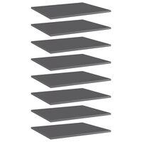 vidaXL Prídavné police 8 ks, lesklé sivé 60x50x1,5 cm, drevotrieska