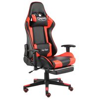 vidaXL Otočná herná stolička s opierkou nôh červená PVC