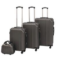 vidaXL Sada 4 cestovných kufrov z tvrdým krytom, antracitová