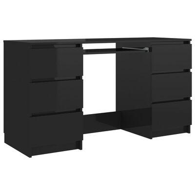 vidaXL Písací stôl, lesklý čierny 140x50x77 cm, drevotrieska