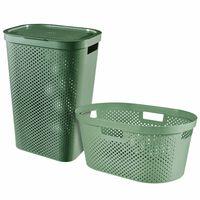 Curver Infinity 2-dielna sada koša a vaničky na prádlo zelená 40 l + 60 l