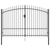 vidaXL Dvojkrídlová plotová brána s hrotmi, oceľ 3x1,75 m, čierna