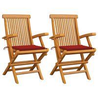 vidaXL Záhradné stoličky, červené podložky 2 ks, tíkový masív
