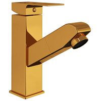 vidaXL Kúpelňová vodovodná batéria s funkciou vyťahovania zlatá 157x172 mm