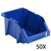 vidaXL Stohovateľné úložné boxy 50 ks, 200x300x130 mm, modré