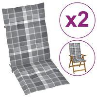 vidaXL Podložky na záhradné stoličky 2 ks sivý kockovaný vzor 120x50x4 cm