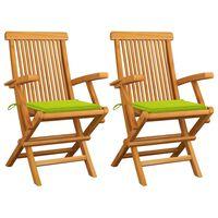 vidaXL Záhradné stoličky, jasnozelené podložky 2 ks, tíkový masív