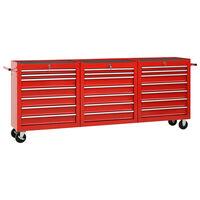 vidaXL Dielenský vozík s 21 zásuvkami červený oceľový