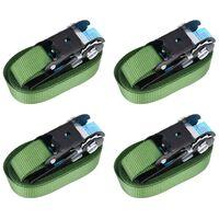 vidaXL Upínacie popruhy s račňou 4 ks 800 daN 6 m zelené