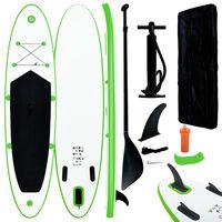 vidaXL Nafukovací Stand up paddleboard, zeleno biely