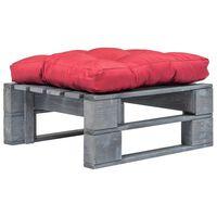 vidaXL Záhradná taburetka z paliet, červená podložka, sivá, drevo