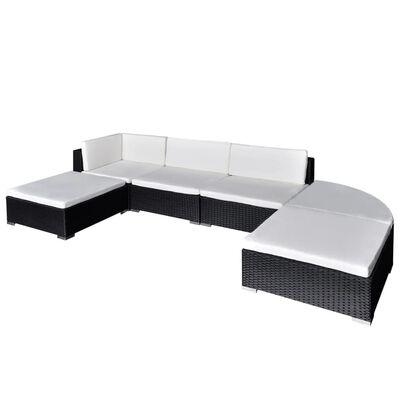 vidaXL 6-dielna záhradná sedacia súprava s vankúšmi čierna polyratanová