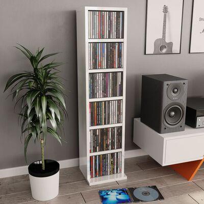 vidaXL Skrinka na CD, lesklá biela 21x20x88 cm, drevotrieska