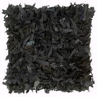 vidaXL Vankúš so strapcami čierny 60x60 cm koža a bavlna