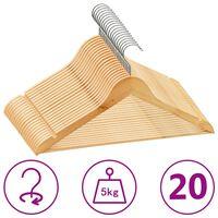 vidaXL 20-dielna sada vešiakov na oblečenie tvrdé drevo protišmyková