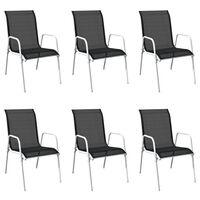 vidaXL Stohovateľné záhradné stoličky 6 ks, oceľ a textilén, čierne