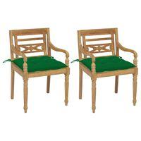 vidaXL Batavia stoličky 2 ks so zelenými vankúšmi masívny teak