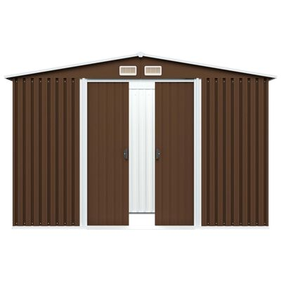 vidaXL Záhradná kôlňa, hnedá 257x205x178 cm, oceľ