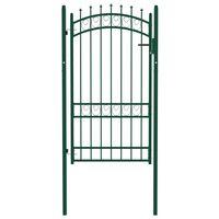 vidaXL Plotová brána s hrotmi oceľová 100x175 cm zelená