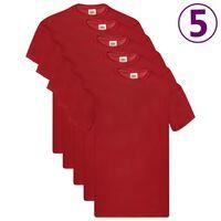 Fruit of the Loom Originálne tričká 5 ks červené 3XL bavlnené