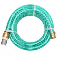 vidaXL Sacia hadica s mosadznými spojkami, 3 m, 25 mm, zelená