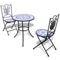 vidaXL 3-dielna bistro súprava, keramické dlaždice, modro biela