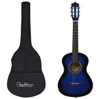 """vidaXL 8-dielna klasická gitarová sada pre začiatočníkov modrá 1/2 34"""""""