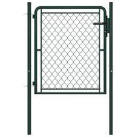 vidaXL Záhradná brána, oceľ 100x75 cm, zelená