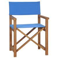 vidaXL Režisérska stolička, tíkový masív, modrá