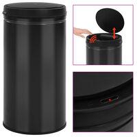 vidaXL Automatický odpadkový kôš, senzor 60 l, uhlíková oceľ, čierny