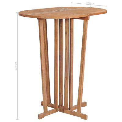 vidaXL Skladací barový stôl 100x65x105 cm, tíkový masív