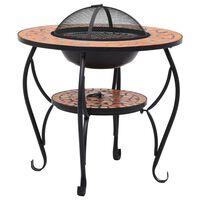 vidaXL Mozaikový prenosný stôl s ohniskom terakotový 68 cm keramický