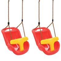 vidaXL Detské hojdačky s bezpečnostným pásom 2 ks PP červené